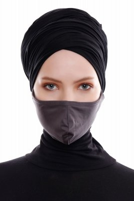 Asli - Hijab Sport Masque Facial Anthracite / Couverture Faciale