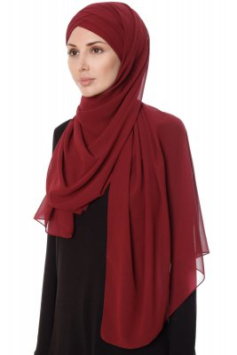 Mehtap - Chiffon Hijab Pratique One-Piece Bordeaux