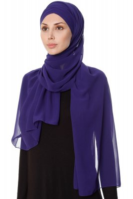 Mehtap - Chiffon Hijab Pratique One-Piece Violet