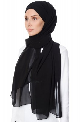 Mehtap - Chiffon Hijab Pratique One-Piece Noir