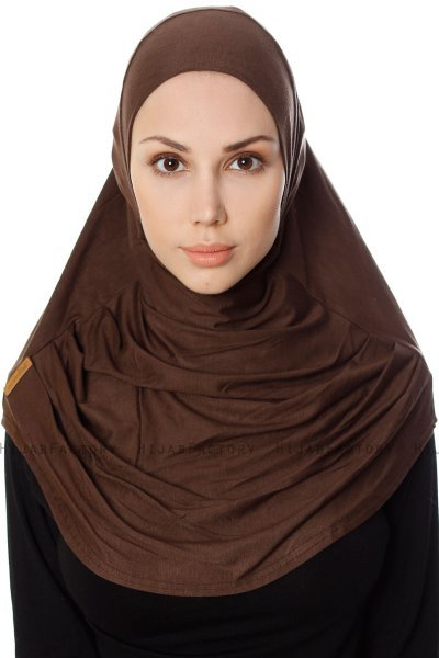 Ava - Hijab Al Amira Marron One-Piece - Ecardin