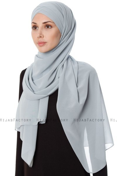 Mehtap - Chiffon Hijab Pratique One-Piece Gris