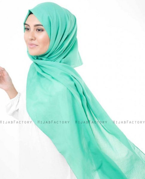 Vivid Green Grön Bomull Voile Hijab InEssence 5TA67c